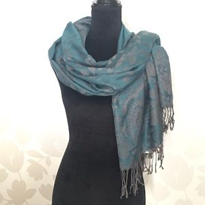 Pashmina Scarf Turquoise & Grey NWT